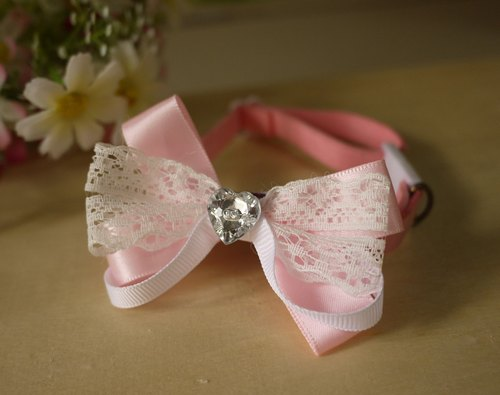 [Security] pale pink lace pet collar x Small cats and dogs love Type / Collar / tie / Jojo ♥ cherry pudding Cherry Pudding ♥