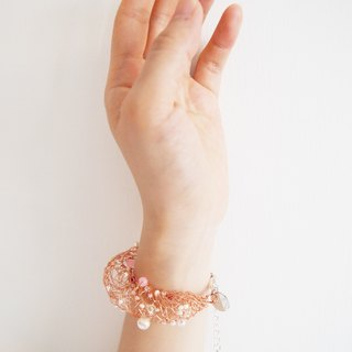 B112 noble custom hand-woven copper wire with rose gold hands and chain synthetic glass pearls