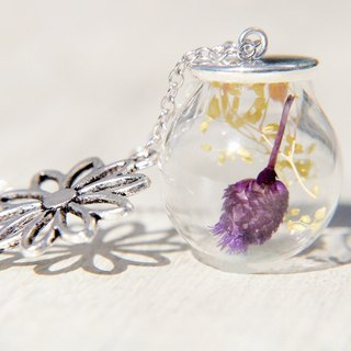 Valentine's Day gift / Forest Department / French glass dried flower necklace clavicle short chain long chain - Starry + purple flowers