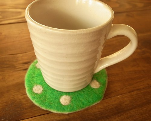 【Grooving the beats】Cup coasters, Felt coasters(Dot_Green)