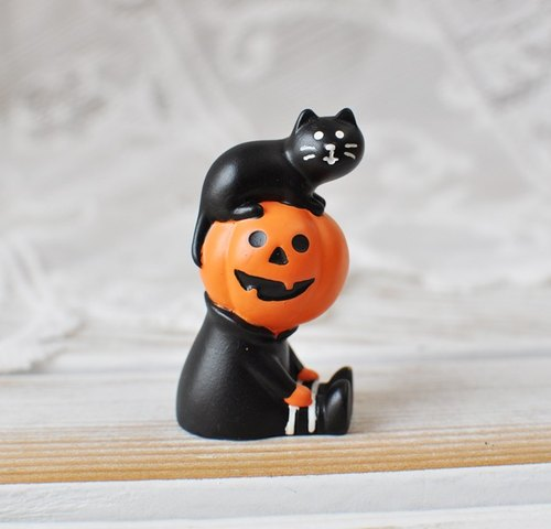 [Japan] concombre Decole Halloween pumpkin man with a small black cat - Halloween mischief Limited Listed