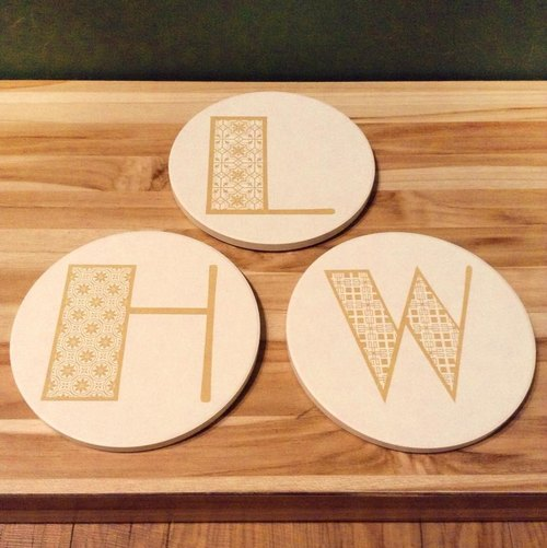 Customized letters ceramic water coasters * Classic gold