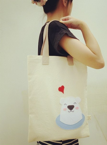 I love polar bears green canvas bag / shoulder bags / A4 bag (light brown lifting Bands) free transport