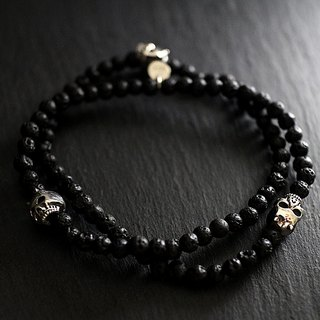 Sterling silver double circle demon skull bracelet (lava stone)