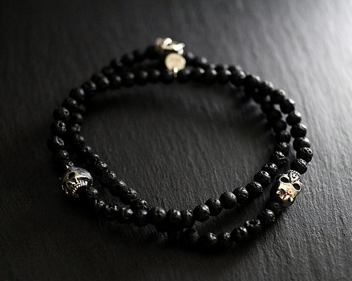 Silver double ring skeleton Devil bracelet (lava stone)