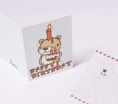 """Foufou"" universal card Card- Bear Happy Birthday Candles"