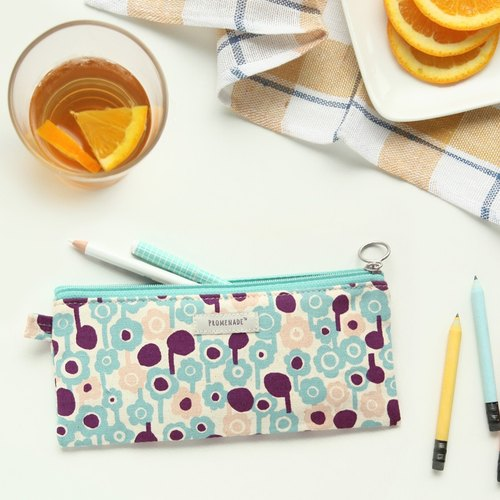 Dessin x Livework-Promenade forest walk L- colorful purplish blue cotton pencil case, LWK96476