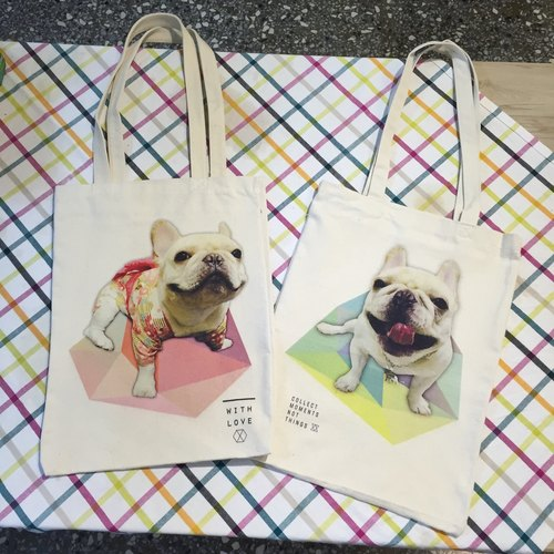 Oops French Bulldog Canvas Shopping Bag
