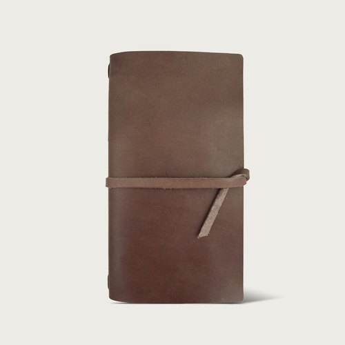 "LINTZAN ""hand-stitched leather"" N1 travel Notepad leather (with laptop) - dark brown"