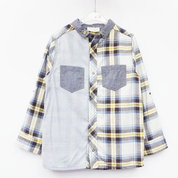 andywawa Plaid and ruled playful blue casual shirt / blouse
