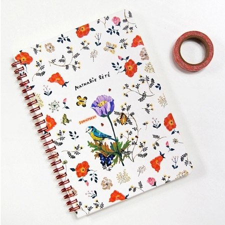 Dessin x 7321 Design-Nathalie Lete ring on striped notebook - flowers and birds, 7321-01309