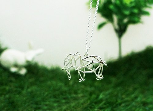 Geometric Elephant silver necklace (20 inches Silver Chain)