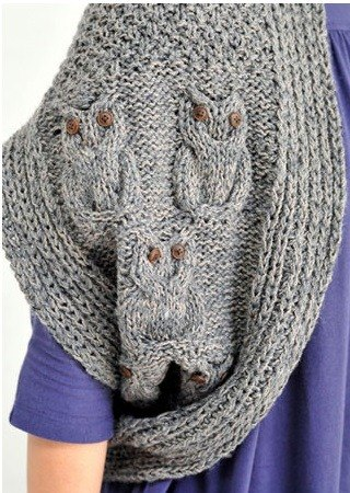 "Earth tree fair trade- ""Scarf"" - hand-knitted wool scarves 2Way owl multifunction vest (gray)"