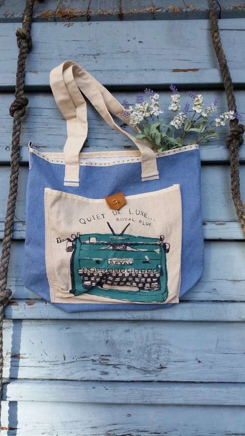 Retro Typewriter pattern bag / handbag / shoulder bag / cotton washing blue canvas / handmade / occupied / gifts / birthday gift