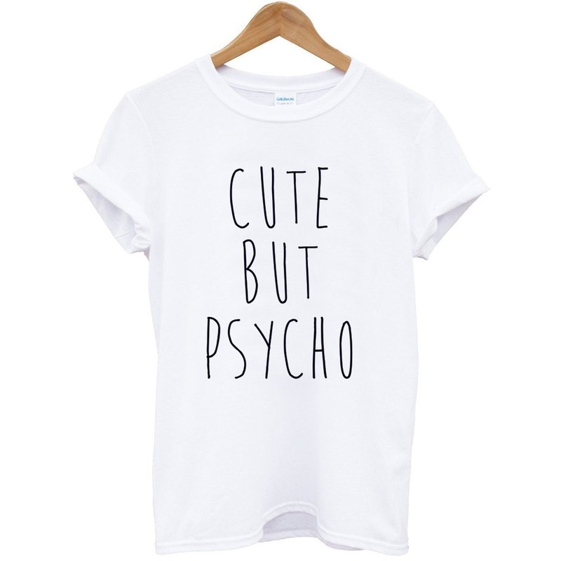 CUTE BUT PSYCHO White Gray T Shirt
