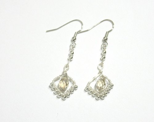 Diamond shape crystal earrings (handmade limited edition)