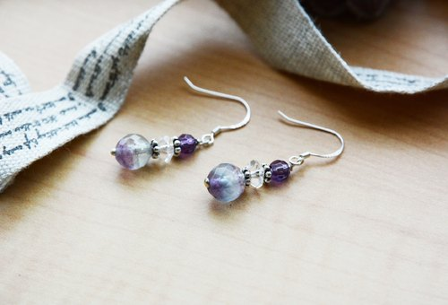Hand fluorite amethyst earrings silver ear hook