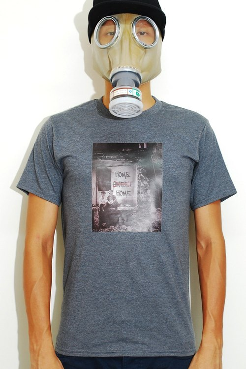 Two gas masked homeless kids - grafitti home sweet home - grey tshirt