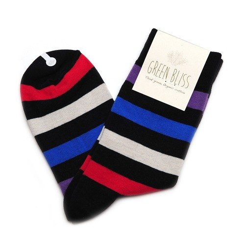 GREEN BLISS Organic Cotton Socks - [Stripe Series] Poinsettia Blue Gray Red Striped Stockings (M / D)