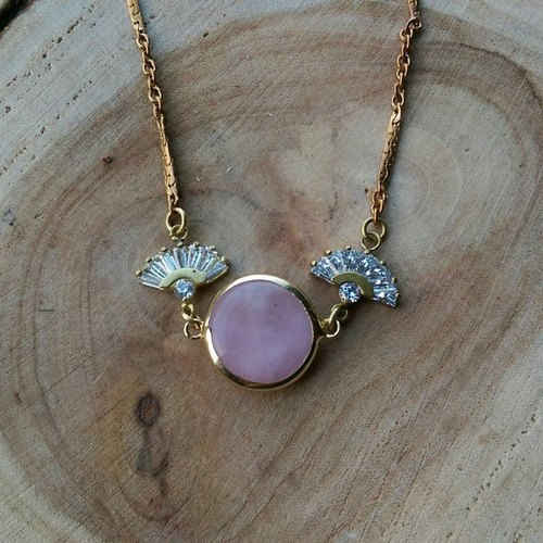 Riga Series - fan-shaped necklace zircon pink natural stone