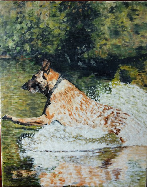 "Original hand-painted oil painting ""Jeff"" Pet Portraits Garden Restaurant Breakfast arrangement"