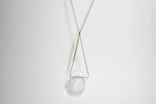 """X"" of the large transparent glass ball handmade necklace handmade glass ball / Brass"