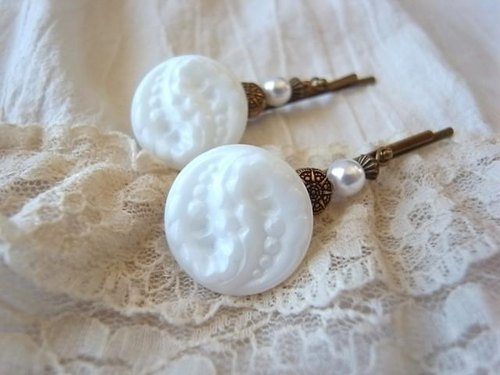 Two hairpin of white Czech glass button vintage