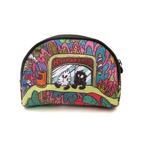 Chloe deaf cat Panda-a-Panda barber shop makeup bag
