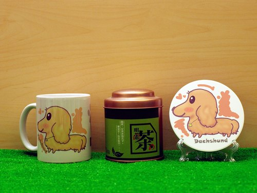 """Father Tea X NONCOOL"" Dog series - Longhaired Dachshund * cream. Tea gift"