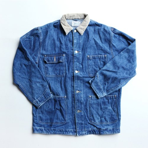 A ROOM MODEL - VINTAGE,CJ-2462 POLO RALPH LAUREN淺咖啡領藍色denim work coat