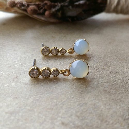 Antique brass imitation opal glass CZ Earrings