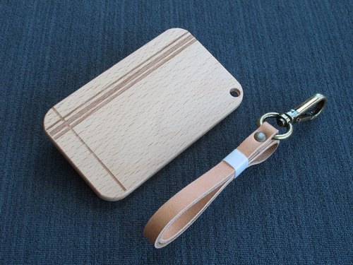 IC card holder wood - beech constant laser engraving (angle pill)
