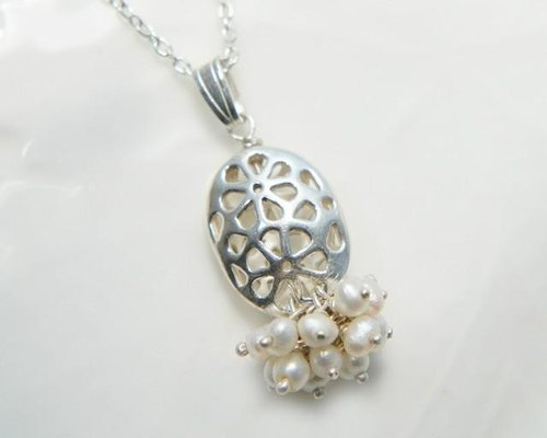 Necklace Silver flower watermark