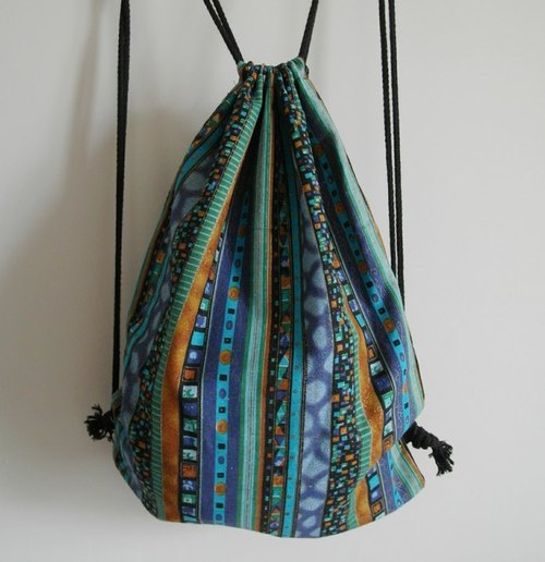 ~ M + Bear ~ Vintage Drawstring Backpack (blue, green and straight folk-like)