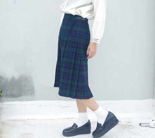 4.5studio- paddy rice to geocaching old clothes, DC - Imperial classic pure blue and green plaid wool skirt a