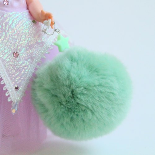 Green dumpling | Exclusive Seto rabbit fur ball beaded ear clip earrings Japanese excited Moetan product