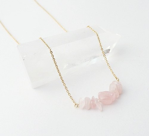 | Touch of moonlight | natural pink crystal stone polished 14k gold necklace