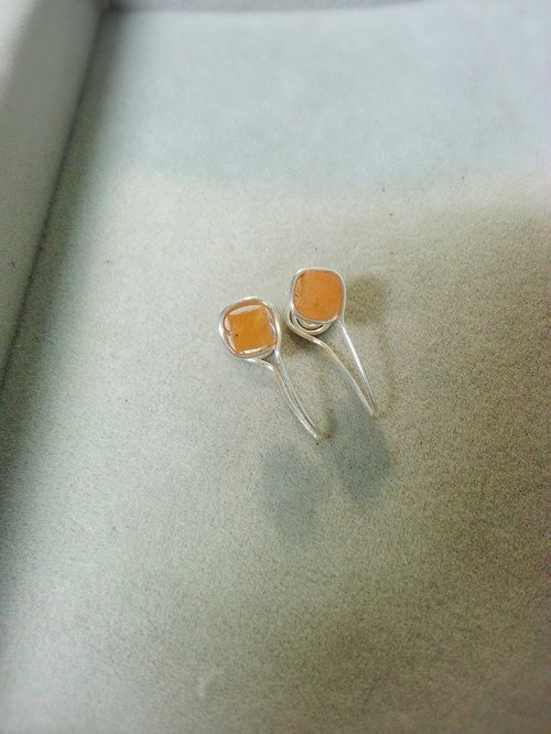 ☆, .- * '108 perles orange chalcedony ear clip box
