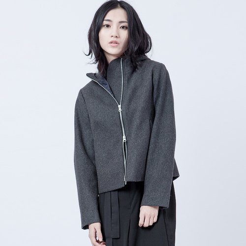 Wool hooded jacket Hooded Grey Wool Jacket