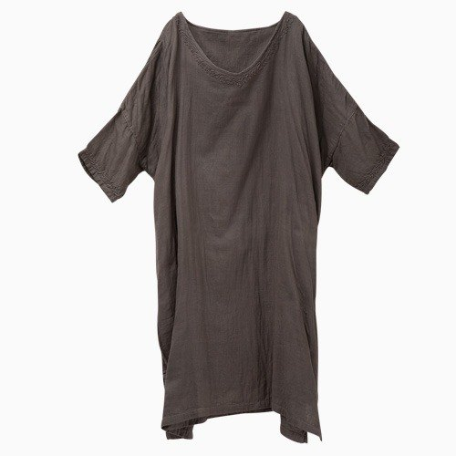 "Earth tree fair trade- '2015 apparel ""- hand-woven cotton yarn embroidery _ double big dress long version (only gray)"