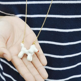 Glorikami White Balloon Dog Necklace