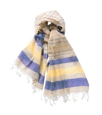 "Earth tree fair trade- ""2013 Spring Scarf"" - hand-woven cotton scarves yellow and blue stripes"
