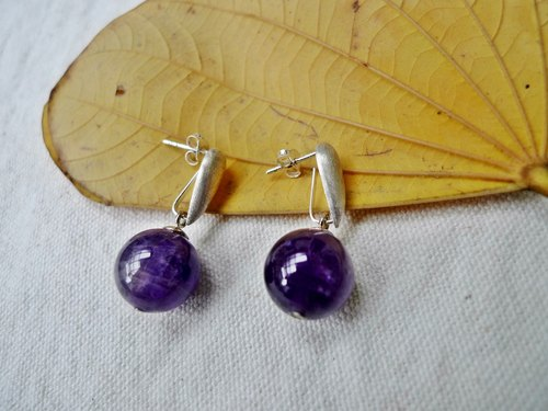 Amethyst silver earrings minimalist series _
