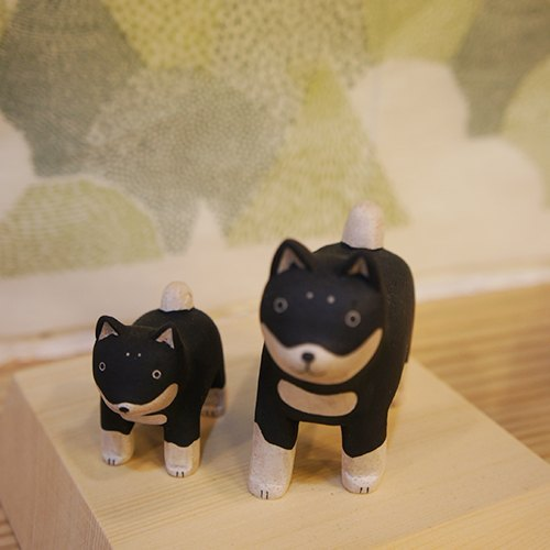Gift: Paradise solid wooden critters _ Huskies wood color healing system _ Parental combination decorations Sold