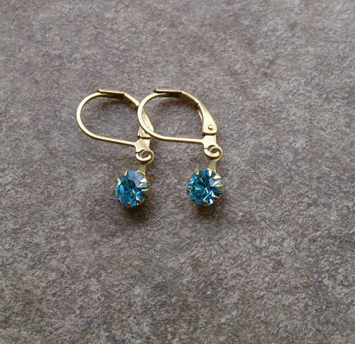Simple antique earrings Swarovski Aqua