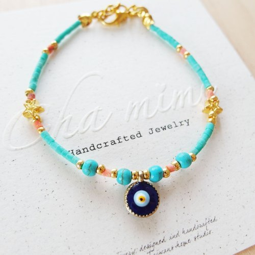 Cha mimi. From the Aegean Sea. Greece blue evil eye natural stone charm bracelet - peacock blue and green