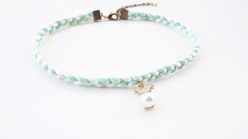 Mint white braided choker/necklace with crown-pearl charm