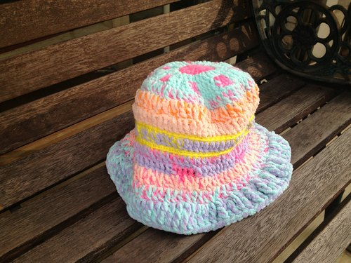 [Endorphin] hand-woven hat color fluorescent Macaron