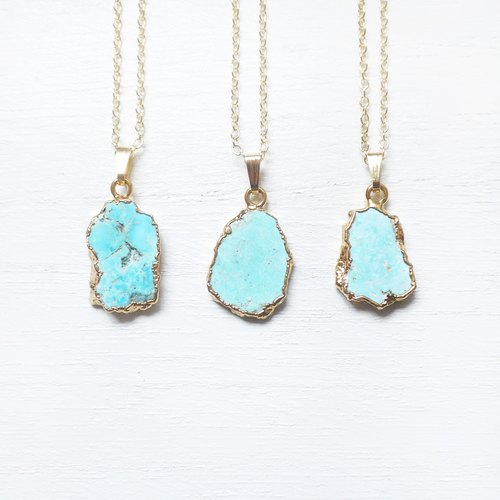 Let it _ turquoise stone | gold-plated necklace / 068 /