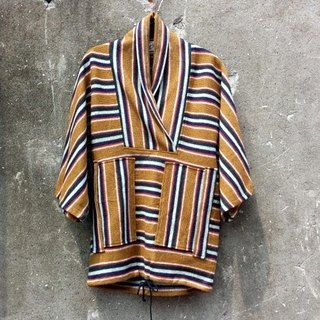 Modified Japan stripes wool kimono jacket